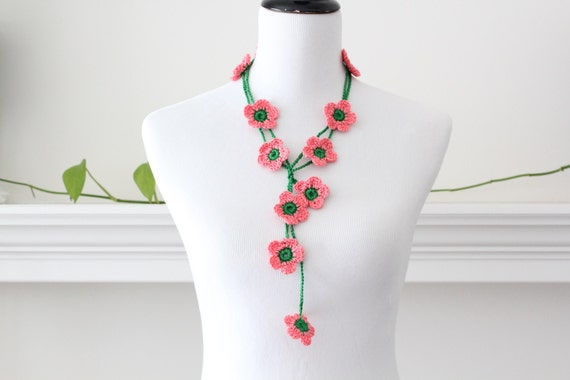 Crochet Necklace Coral Green Flower Lariat Necklace, Scarf, Scarflette