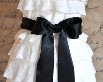 Satin sash in your choice of colors. Bridal belt Bridesmaids sash Flower Girl sash. Black shown