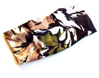 Boho stretch print headbands. Camo, deco mustard, Aztec tribal and  Brazil abstract. Wear scrunched or wide.