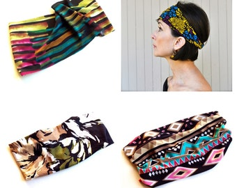 Sale Boho stretch print headbands. Brazil abstract, deco mustard, eggplant and aqua print, Aztec tribal and camo. Wear scrunched or wide.