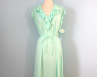 1970s jersey dress / 70s mint green dress / Seafoam dress