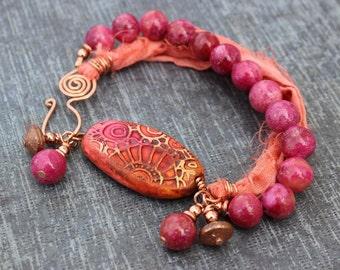 Orange and Pink Bracelet, Polymer Clay Focal
