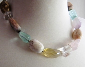 Chunky beaded gemstone necklace, Bold semi precious and glass necklace, Statement Necklace