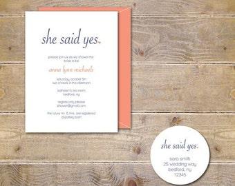 Bridal Shower Invitations She Said Yes Invites Wedding