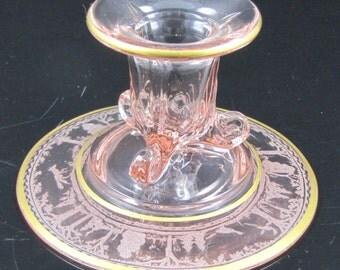 Vintage Woodland, Fox & Hounds Pink Candlestick