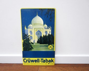 Original vintage German ADVERTISING CARDBOARD⎮Taj Mahal India⎮Crüwell Tabak⎮blue yellow⎮tobacconist sign ad⎮wall home bar decor⎮industrial