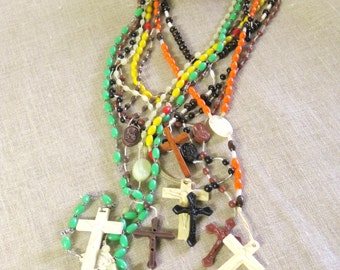 Vintage Plastic Rosary Collection, Green, Religious Necklace, Religion, Prayer Beads, Church, Jewelry, Group of 8, Church, Altar, Sacred