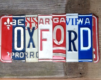 OXFORD Ole Miss HOTTY TODDY Rebels recycled license plate art sign tomboyART ReBelZ