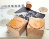 Wedding Rubber Stamps – Set of three rubber stamps: Your initials and the wedding the date, thank you stamp & a little flower // Custom made