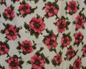 """Vintage 60s Abstract Hot Pink Flowers on White  Flannel Fabric, 36 x 96"""", 2 2/3 YDs"""