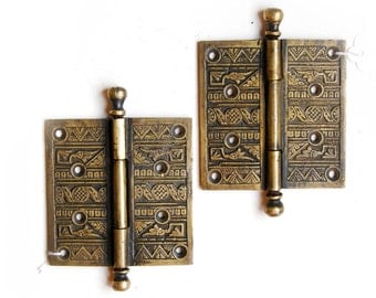 REPRODUCTION Ornate Eatslake Brass Hinge, E1001 (2 In Stock)