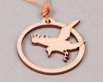 Raven Pendant - Raven Necklace - Bird Pendant - Bird Necklace - Wood Pendant - Wood Necklace