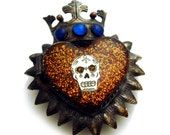 Antiqued Silver Crowned Sacred Heart Mini Locket Pendant with Sugar Skull & Swarovski Crystals - Reliquary