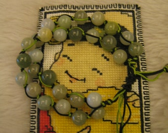 SMOKY GRASSHOPPER ... natural jade handknotting bracelet