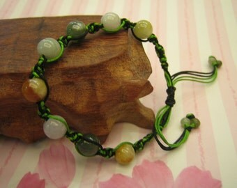 COLOR EIGHT ... Natural Jade Bracelet / Anklet ... Handknotting Jewelry