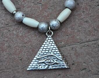 Eye of Ra - Real Bone Beads Eye of Ra Egyptian Pyramid Necklace