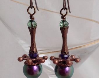 Purple satellite earrings