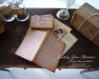 Miniature Letter set with Folded PInk Book for Dollhouse 1/12 Scale
