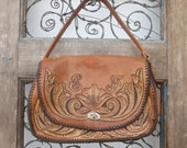 "Vintage Hand Tooled Leather Western Handbag Purse with Buckskin Stitching - w/ ""EF"" Initials"