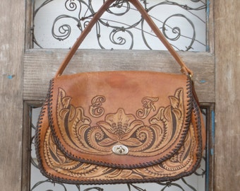"Vintage Hand Tooled Leather Western Handbag Purse with Buckskin Stitching - w/ ""EF"" Initials"