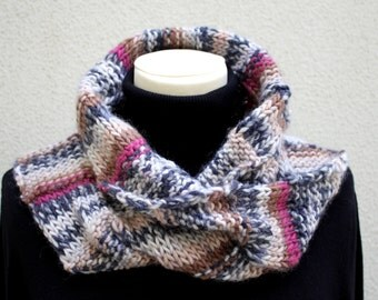 Knitted Neckwarmer in Pink/Cream/Blue -Scarf - Handmade by T. Catana - Made to Order: 3-4 business days.