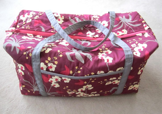 Items Similar To Large Quilted Duffle Bag Red Floral Overnighter Weekender Travel Bag ...