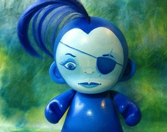 BLUE GIRL - Custom MUNNY Figure 5 Inches Tall, Painted by Hand with New Hair, cm Customized Doll