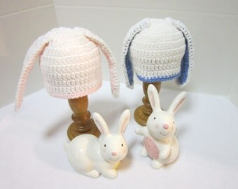 Bunny Baby Hat, Twins or Triplets Crochet Baby Rabbit Caps, MADE TO ORDER by Charlene, Photo Prop, Twins or Triplets, White Easter Hat