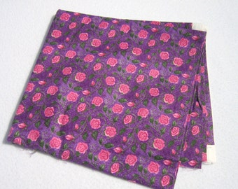 Purple Cotton Material with Pink Flowers, Fabric Destash, Cotton Flowered Fabric, Two Yards