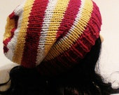 Womens Knitted Hat, Women's Slouchy Beanie, Women's Fashion, Winter Fashion, Winter Accessories Hat, Red, Yellow, White