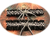 Black Satin Wedding Garter Set with Checkered Flag Deco  Your Choice, Single or Set)