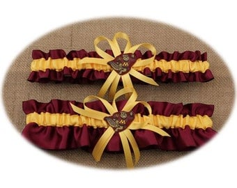 Wedding Garter Set with University of Minnesota Colors  (Your Choice, Single or Set)