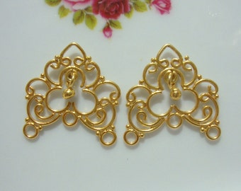 24 x 22 x 2 mm, 6 pcs, Handmade 24K Gold Vermeil Sterling Silver Beautiful Chandeliers with bead dangle,Link connector, CC-0013