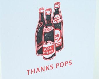 SALE - Father Dad letterpress Card - Thanks Pops - 60% off
