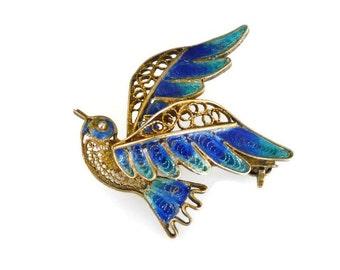 Filigree Bird Brooch Silver Vermeil Gold Enamel Cobalt Blue Green Figural Vintage Jewelry