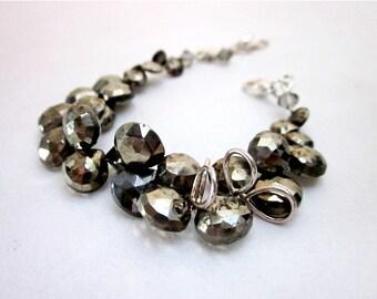 Silver Grey Bead Bracelet -- Pyrite Bracelet -- Pyrite Bead Bracelet -- Gemstone Pyrite Bracelet -- Gem Briolette Bracelet,Sterling & Pyrite
