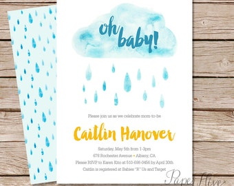 Spring Showers Baby Shower Invitation - raindrop baby shower invite - printable digital file