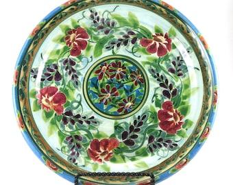"""Large Ceramic Plate - 10"""" Blue Porcelain Handmade Dinner Platter with Red Floral Design"""