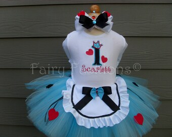 Custom Tutus...ALICE in WONDERLAND Tutu Set with APRON..Queen of hearts..3,6,9,12,18 months and 2T,3T,4T,5T,6, birthday, dress up, tea party