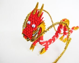 Red Gold 3D Origami Dragon Sculpture