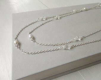 Long chain necklace white freshwater pearls minimalist wrap necklace long necklace for women