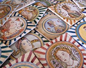 Hand Painted Ceramic Maiolica Tile (1)