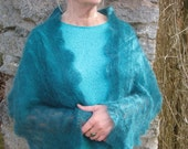 Romantic handknitted turquoise lace scarf mohair wrap long scarf teal cozy stole lace shawl. Woman shawl.