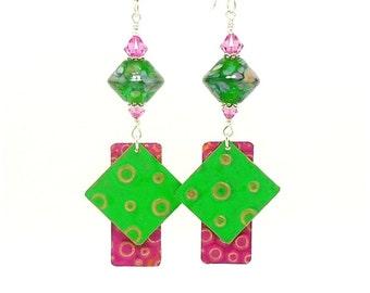 Green Pink Mixed Metal Earrings, Metalwork Earrings, Copper Earrings, Lampwork Earrings, Dangle Earrings, Boho Earrings, Glass and Metal