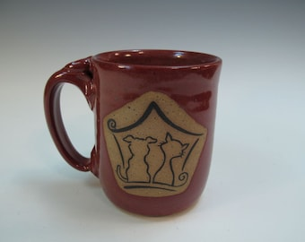 Puppy and Kitty in Window-  Red Mug - Holds 18 ounces - Hand made - In Stock