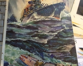 1941 Authur Beaumont print magazine images of famous paintings by artist. WWII subs battle ships planes.