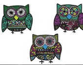 3 Psychedelic Owls Fabric Iron On Appliques