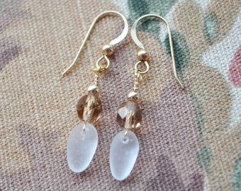 Sea Glass Bright White Set in 14k Gold Filled Findings and Champagne Crystals 9467C