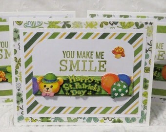 Handmade note cards, St. Patrick's day cards, green and white striped, 'You make me smile',  set of four