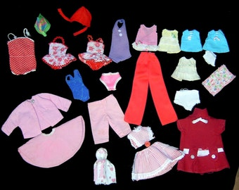 1960s Barbie / Midge doll swimsuit clothing dress coat lot ~ with white vinyl case ~ ballgowns wedding satin pants suits outfits